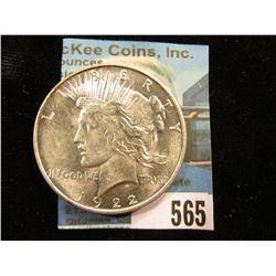 1922 D U.S. Peace Silver Dollar. Brilliant Uncirculated.