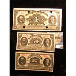 """1913-15 Series I, H, & F """"El Estado De Sonora"""" 25c, 50c, & One Peso Banknotes. Near CU. The One Peso"""