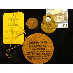 """Tag for """"True Temper Rod""""; Cork Advertising Coaster """"General Wax & Candle Co….North Hollywood, Ca."""";"""