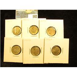 1946 P, 49 D, S, 53 S, 54 D, & 55 P Roosevelt Dimes, AU-Uncirculated.