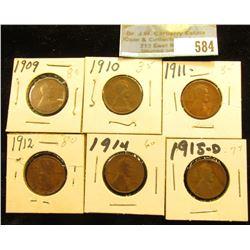 1909 P, 10 P, 11 P, 12 P, 14 P, & 15 D Lincoln Cents. Good to Fine.