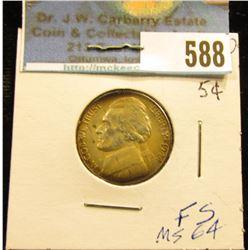 1944 D World War II Silver Jefferson Nickel. Full Original toning, Brilliant Uncirculated.