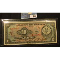 """April 7, 1943 """"El Banco De Mexico"""" Ten Pesos. CU."""