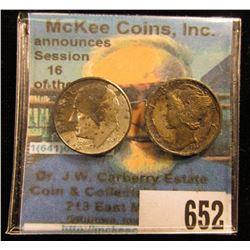 1938 D Original Toned Mercury Dime & 1947 P Original Toned Roosevelt Dime.