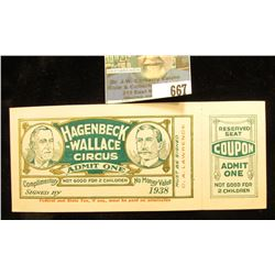 """1938 """"Hagenbeck-Wallace Circus Admit One"""" Ticket with Stub."""