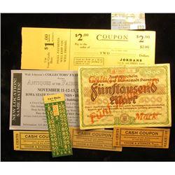 "(4) different Cash Coupons including ""Yocom & Sterner, Props.""; 2005 Walt Johnson's Collectors' Extr"