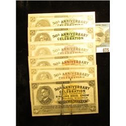 """(6) different Baraboo Scrip """"50th Anniversary 1883-1933 Celebration of the Founding of Ringling Bros"""