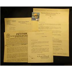 April 15, 1936 United States Senate letter on letter head discussing Townsend Plan and a Petition to