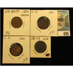 1879 Fine, 1884 VF, 1886 VF, & 1891 EF Great Britain Farthings.