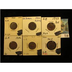 1931 Brown Unc, 32 EF, 33 EF, 36 EF, 37 Brown Unc, & 40 Choice Brown AU Great Britain Farthings.