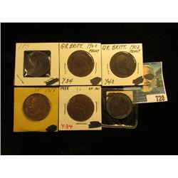 1899 VF, 1900 Fine, 01 VF, 02 Fine, 1918 VF, & 1938 EF-AU Great Britain Large Pennies.