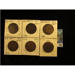1900 VF, 01 VF, 02 VG, 36 EF, 37 EF, & 38 EF Great Britain Large Pennies.