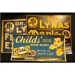 """Child's Razor Blades…10c…"" Advertising Poster; ""Dr. Lynas' Flavoring Extracts Strong Natural Flavor"