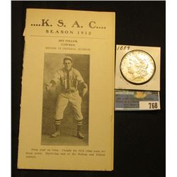 Kansas State Baseball Season 1912 Scoreboard Card; & 1889 P Morgan Silver Dollar, AU-BU.