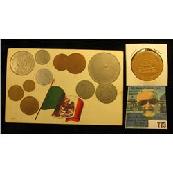 """Republica Mexicana Tarjeta Postal"" Post card depicting a variety of Mexican Coins; & a Cat playing"
