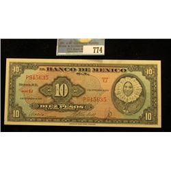 "1954 ""El Banco De Mexico"" Ten Peso Bank Note, CU."