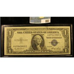 Series 1935 E One Dollar Silver Certificate, Choice AU.
