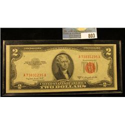 """Series 1953 B Two Dollar U.S. Note """"Red Seal"""" Choice AU."""