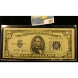 Series 1934 D Five Dollar U.S. Silver Certificate, Almost Uncirculated.