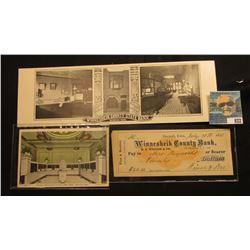 """Winnesheik County State Bank Decorah, Iowa"" advertising card; July 30th, 1870 Check drawn on the ""W"