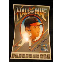 "Autographed Milt Pappas Poster ""Orioles Hall of Fame"" measures 11 1/2"" x 17""."