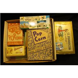 "Empty boxes ""Barnum's Country Fresh Creamery Butter,…Barnum, Minn.""; ""Delicious Fresh Popcorn It's s"