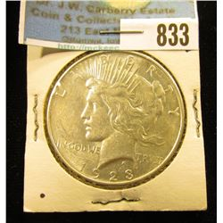 1923 D U.S. Peace Silver Dollar, Almost Uncirculated.