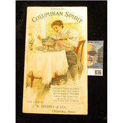 """Advertising card """"Trademark Columbian Spirit Cheaper Than Alcohol for the Purposes Named on the Back"""