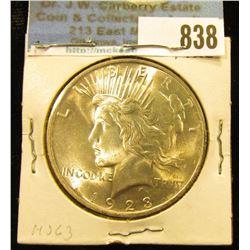 1923 P U.S. Peace Silver Dollar, Brilliant Uncirculated.