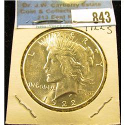 1922 S U.S. Peace Silver Dollar, Brilliant Uncirculated.