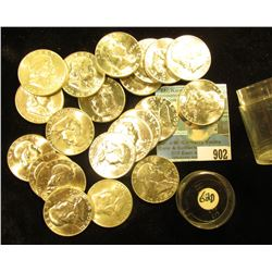 21-Piece Roll of 1962 D Franklin Half-Dollars in a plastic coin tube. Uncirculated to Gem BU.