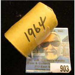 1964 P Original BU Roll of Kennedy Half-Dollars in an original bank-wrapped wrapper, End coins heavi