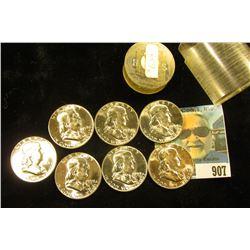 (7) 1959 P Franklin Half-Dollars in a plastic coin tube. All Gem BU.