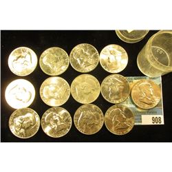(13) 1960 D Franklin Half-Dollars in a plastic coin tube. All Uncirculated to Gem BU.