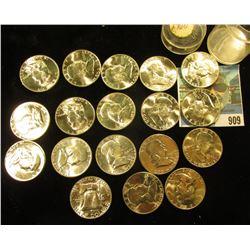 (18) 1960 P Franklin Half-Dollars in a plastic coin tube. All BU to Gem BU.