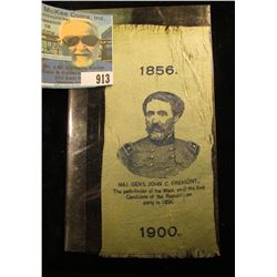 """Campaign Silk Ribbon """"1856 Maj. Gen'l John C. Fremont, The path-finder of the West, and the first Ca"""