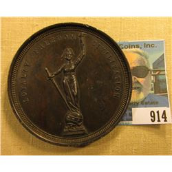 """1902 Civil War Veterans Medal.  """"To Indiana's Silent Victors"""", depicts monument, """"Loyalty Freedom Ci"""