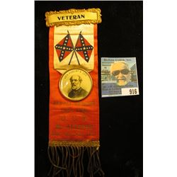 """""""Veteran"""" Red white blue and Gold Ribbon with brass attachments, (Confederate flags crossed in cente"""
