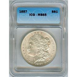 1887 MORGAN SILVER DOLLAR  ICG MS65