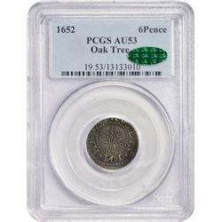 1652 Massachusetts Oak Tree Sixpence. Noe-20 (R.6). AU53 PCGS. CAC.