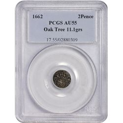 1662 Massachusetts Oak Tree Silver Twopence. Small 2 in Date. Noe-30 (R-4). AU55 PCGS.