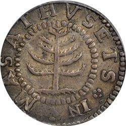 1652 Massachusetts Pine Tree Shilling. Small planchet. Noe-29 (R.3). Reverse punctuated with colons.