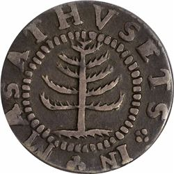 Massachusetts Pine Tree Shilling. Small planchet. Noe-29 (R.6). Reverse punctuated with colons. VF35