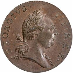 1773 Virginia copper Halfpenny. Period after GEORGIVS. MS63 BN PCGS.