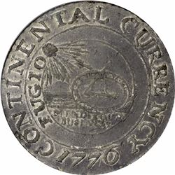 1776 Continental Currency Dollar. CURRENCY spelling on obverse. Pewter. Newman 2-C (R.3). AU53 PCGS.