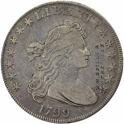 1799 Counterstamped Bust Dollar. W.H. Spiller. Brunk S-768. Host coin: B-11, BB-161. Rarity-3. EF-40