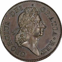 1722 Wood's Hibernia Halfpenny. Harp Left. Nelson-3. Gem Uncirculated Prooflike SP Strike. SP65 BN P