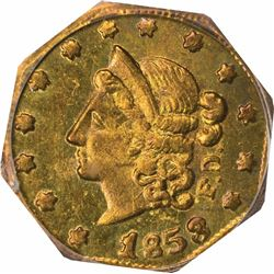 1853 F.D. Octagonal 50 Cents, BG-302. Die State I (perfect dies, clear repunching on 50 and T), Eagl