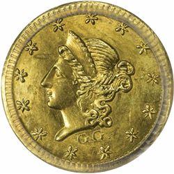 1853 G G. Round Half Dol., BG-411. MS62 PCGS.