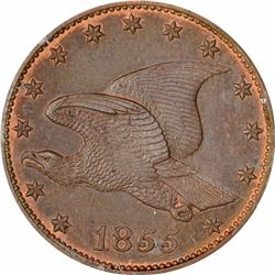 1855 Large Flying Eagle cent. J-168. P-193. S-PT1a. R-4. PR65RB PCGS (PS), 1st. Gen holder. Gem Proo
